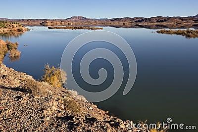 El-Mansour Eddabbi dam with mountains, Ouarzazate.