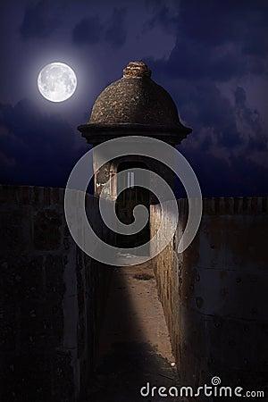 El Morro Castle at Night Stock Photo