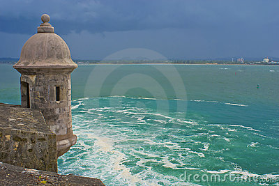 El morro sentry box, bay of san juan, puerto rico.