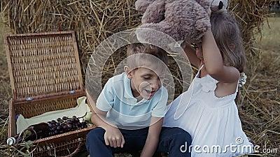 El muchacho y la muchacha están jugando osos suaves del juguete de la diversión Una muchacha en una alineada blanca Puesta del so metrajes