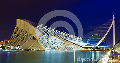 El Museu de les Ciencies Principe Felipe in night  Editorial Stock Photo