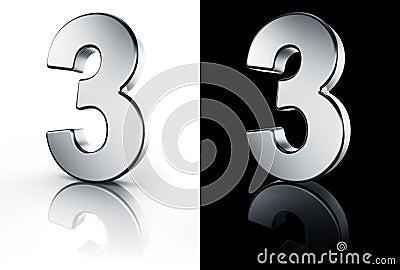 El n mero 3 en el suelo blanco y negro for Suelo 3d blanco