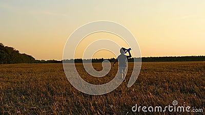 El niño corre por el campo de trigo después de la cosecha, sosteniendo un avión modelo. El niño juega con el avión almacen de video