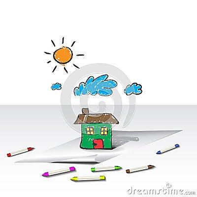 El niño embroma el gráfico de una casa o de un hogar