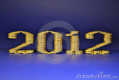 El número dos mil duodécimos puso pilas de monedas