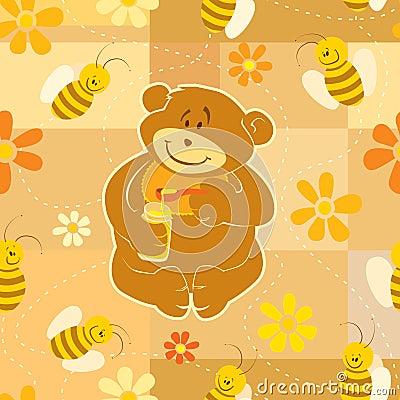 El oso del peluche come la miel