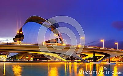 El Palau de les Arts Reina Sofia and bridge in eve Editorial Stock Photo