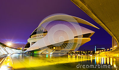 El Palau de les Arts Reina Sofia in evening Editorial Photo