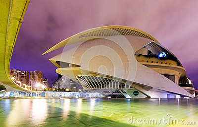 El Palau de les Arts Reina Sofia in night. Valenci Editorial Image
