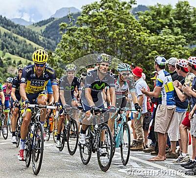 El Peloton en Alpe d Huez Foto de archivo editorial