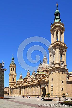 El Pilar Cathedral in Zaragoza city Spain outdoor