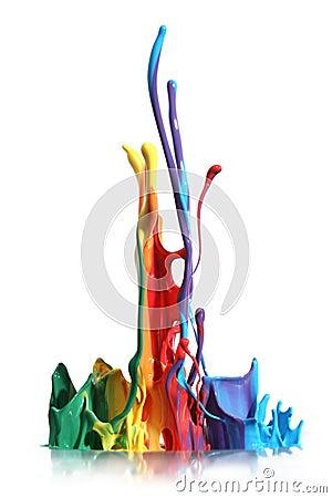 El salpicar colorido de la pintura