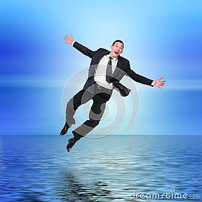 El salto del hombre de negocios