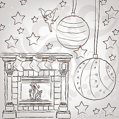 El stylization del bosquejo casa greetin de la vendimia de la Navidad