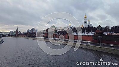 El terraplén del Kremlin, el Kremlin de Moscú almacen de video