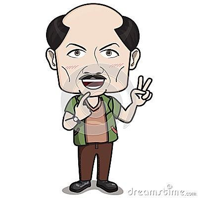 El ?Bald dirigió el carácter del hombre - sonriendo con el dedo 2 dé la muestra