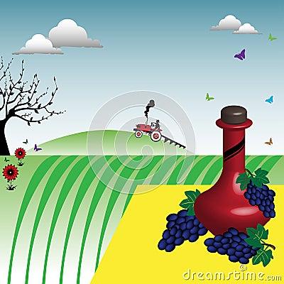 El vino y las uvas acercan a un viñedo