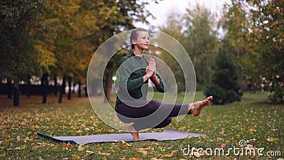 El yogini hermoso de la muchacha está ejercitando en parque en posiciones de equilibrio practicantes de la estera respecto a una  metrajes
