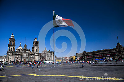 El Zocalo in Mexico City, with Cathedral mexico ci