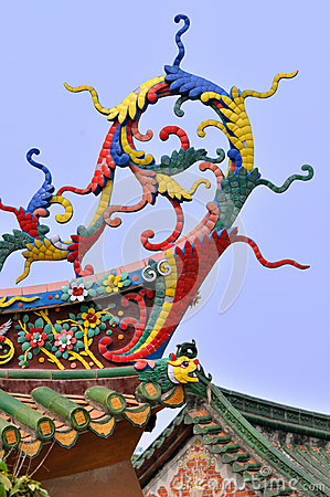 Elaborate eave in Chinese traditional temple