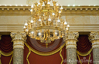Elaborate gold chandelier
