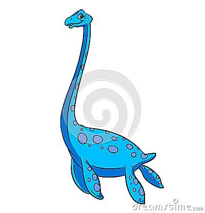 Elasmosaurine dinosaur cartoon