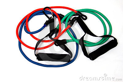 Elastic Exercise Bands in Red, Green, and Blue