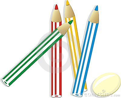 Elastic and set of colorful pencils