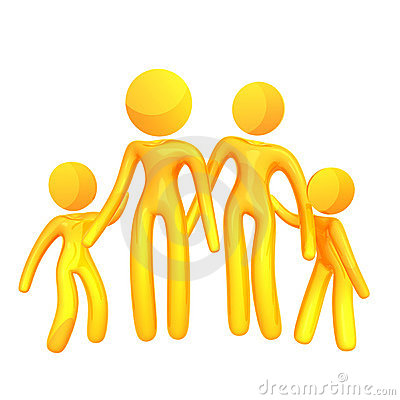 Elastic yellow humanoid family icon