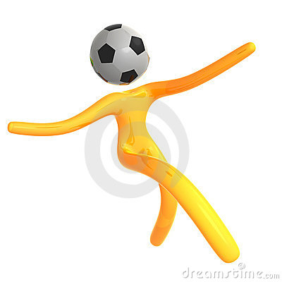 Elastic yellow humanoid icon catching soccer ball