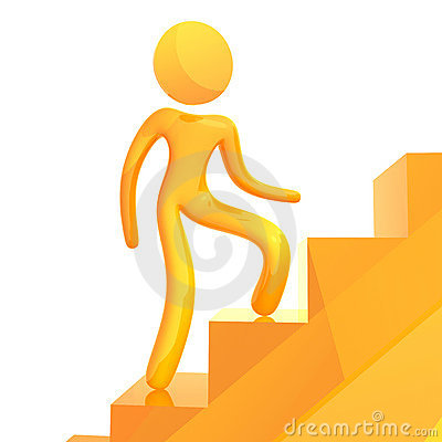 Elastic yellow humanoid icon climbing stairs