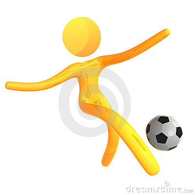 Elastic yellow humanoid icon kicking soccer ball
