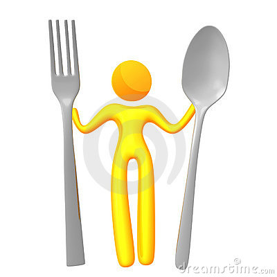 Elastic yellow humanoid icon ready to eat