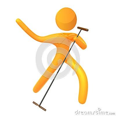 Elastic yellow humanoid idol singer icon