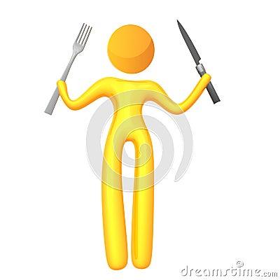 Elastisch geel humanoidpictogram klaar te eten