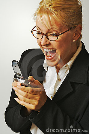 Elated Woman Using Cell Phone