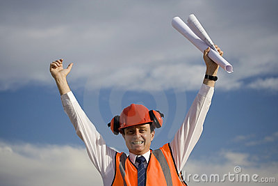 Elated worker