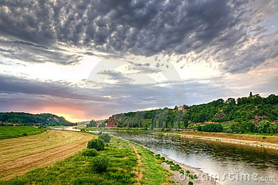 Elbe river valley in Germany