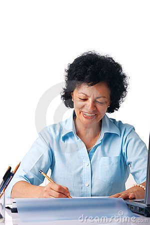 Elder Woman Writing.
