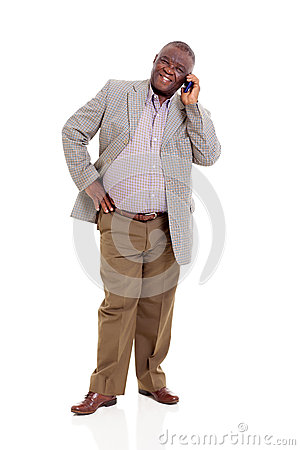 Elderly african man mobile phone