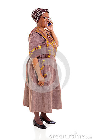 Elderly african woman cell phone
