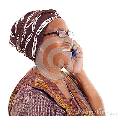 Elderly african woman phone