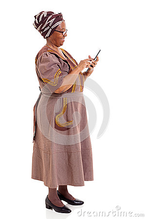 Elderly african woman tablet