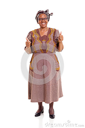 Elderly african woman thumbs up
