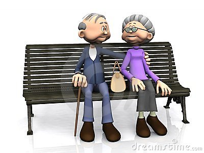 Elderly cartoon couple on bench.