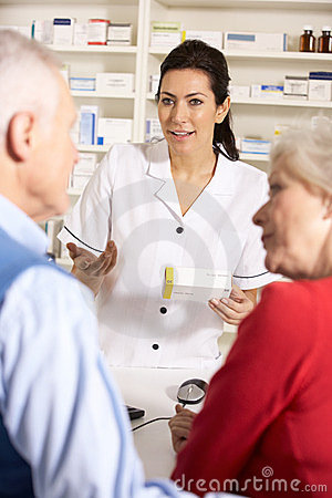 Elderly couple at American pharmacy