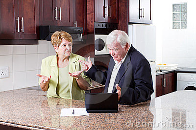 Elderly couple arguing