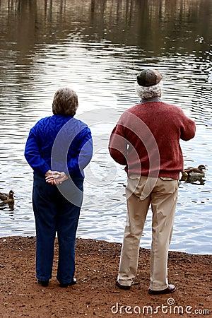 Free Elderly Couple Feeding Ducks Royalty Free Stock Images - 3162169