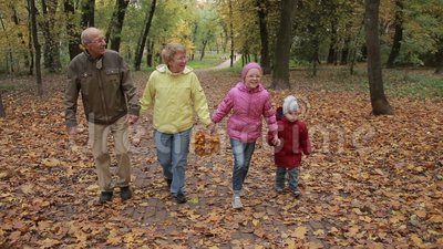 Elderly couple and grandchildren together in autumn stock footage
