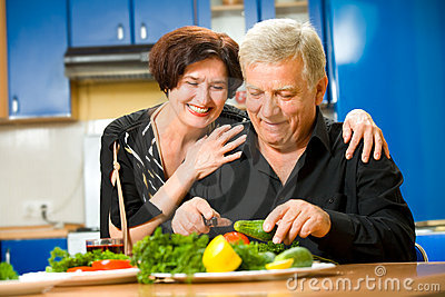 Elderly couple at kitchen